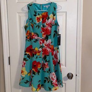 Madison Leigh Turquoise Floral Dress NWT